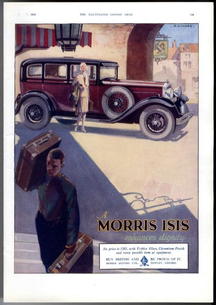 1930 Adverts MORRIS ISIS CAR FASHIONABLE LADY FLAPPER STYLE Foxhunting WHISKY Original Advertising Print